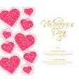 pink glitter hearts valentine day romantic vector image vector image