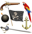 pirate accessories set vector image