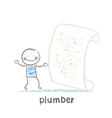 plumber looking at circuit pipe vector image vector image