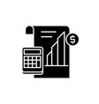 profit report black icon sign on isolated vector image vector image