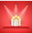 Red Presentation platform and gift box vector image vector image