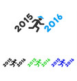 run to 2016 year flat icon vector image