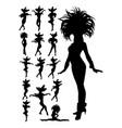 samba dancer silhouettes vector image vector image