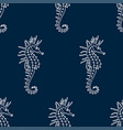 seamless pattern of white seahorse contour vector image vector image