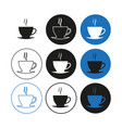 set coffee cup icons simple vector image vector image