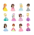 Set of Princesses in Evening Gowns Isolated vector image
