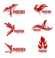 Set of stylized graphic phoenix bird logo vector image