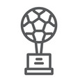 soccer cup line icon sport and award goblet sign vector image vector image