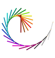 Spiral wave from rainbow colored pencils on white vector image