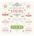 Spring Typographic Design Set Retro and Vintage vector image