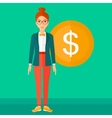 Successful business woman with dollar coin vector image vector image
