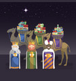 three kings with camels and gifts at night vector image vector image