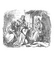 vintage drawing biblical story three wise vector image
