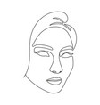 woman face in single line art style vector image vector image