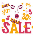 woman face shopping sale banner vector image vector image