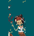 woman skeleton at day dead party poster vector image vector image