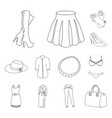 women clothing outline icons in set collection for vector image