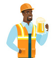 young african-american builder drinking beer vector image vector image