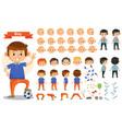 boy kid playing football and toys cartoon vector image