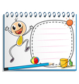 A notebook with a drawing of a child jumping vector image vector image