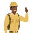 african-american traveler showing victory gesture vector image vector image