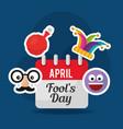 april fools day celebration calendar emoji mask vector image vector image