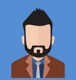 black hair bearded business man portrait vector image