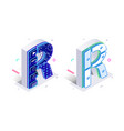blue 3d isometric letter r made with cellular vector image vector image