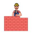 builder build a brick wall vector image vector image