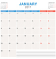 Calendar Planner for 2017 Year Design Template vector image vector image