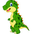 cartoon green dinosaur vector image