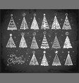 christmas card with christmas trees doodles on vector image