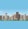 city skyline seamless border pattern with high vector image