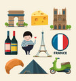 collection set of france landmarks icon vector image vector image