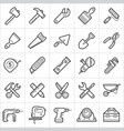 construction tools trendy style icons on white vector image vector image