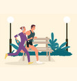 couple jogging and running outdoors in park vector image