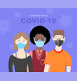 covid-19 coronavirus poster with three people in vector image vector image