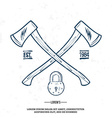 Crossed Axes with Padlock t-shirt print vector image vector image