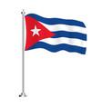 cuban flag isolated wave flag cuba country vector image