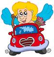 cupid in red car vector image