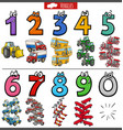educational numbers set with cartoon transport vector image vector image