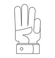 finger up icon outline style vector image vector image