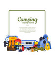 frame with flat style camping elements vector image vector image