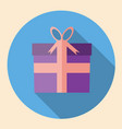 gift box icon flat design with long shadow vector image vector image