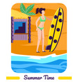 girl in bikini hold surfer board stand at seaside vector image vector image