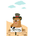 groundhog day marmot makes forecast early spring vector image vector image
