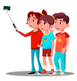 group of children make a selfie picture on mobile vector image vector image