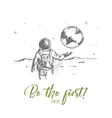 Hand drawn first man on the Moon with lettering vector image vector image