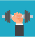 hand of man holding a dumbbell vector image