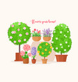home garden cartoon flat vector image vector image